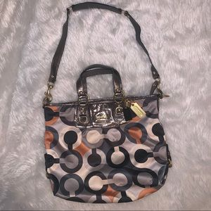 Gray black orange logo hobo handbag purse coach